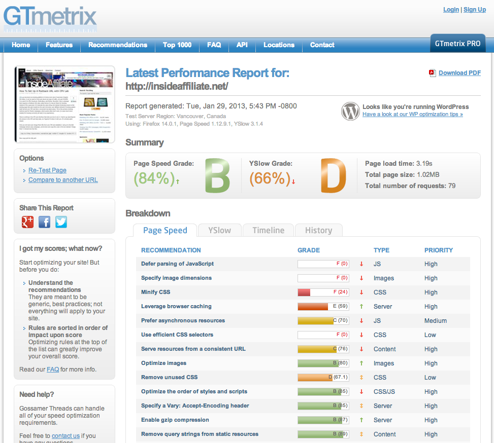 GTmetrix Screen Shot